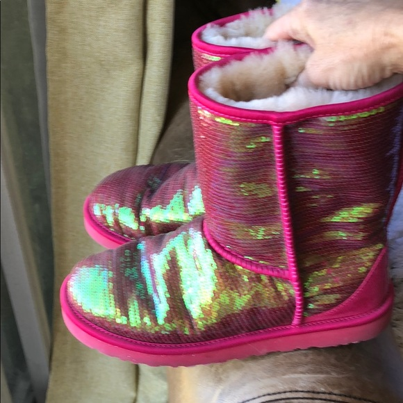 2da010ae388 Rocking red and a yellow green sparkle Ugg boots
